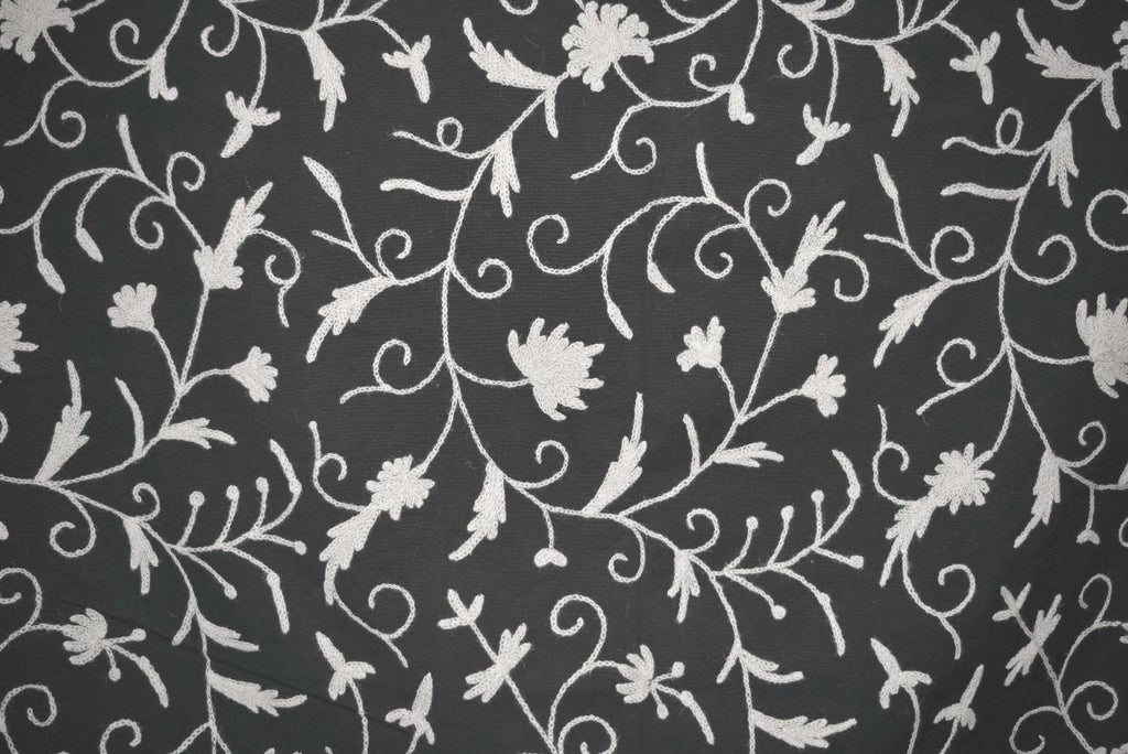 Cotton Crewel Embroidered Fabric Jacobean, White on Black #TML503