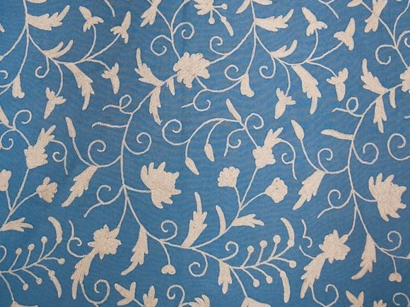 Cotton Crewel Embroidered Fabric Jacobean, White on Turquoise #TML510