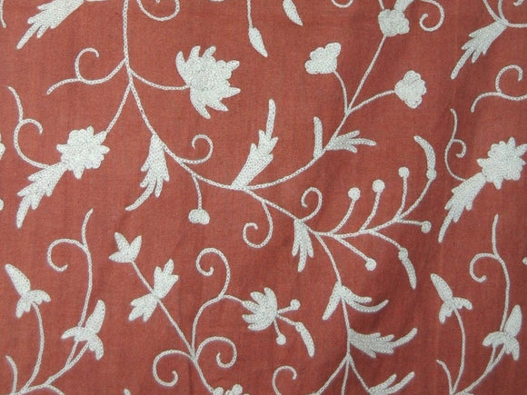 Cotton Crewel Embroidered Fabric Jacobean, White on Taupe #TML511