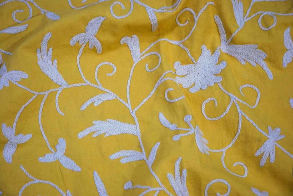 Cotton Crewel Embroidered Fabric Jacobean, White on Mustard #TML512