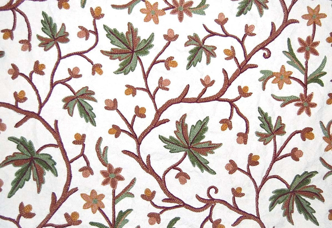 Cotton Crewel Embroidered Fabric Autumn Maple, Multicolor #CHR302