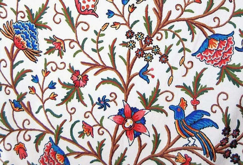 "Cotton Crewel Embroidered Fabric ""Tree of Life"" Birds, Multicolor #BRD102"