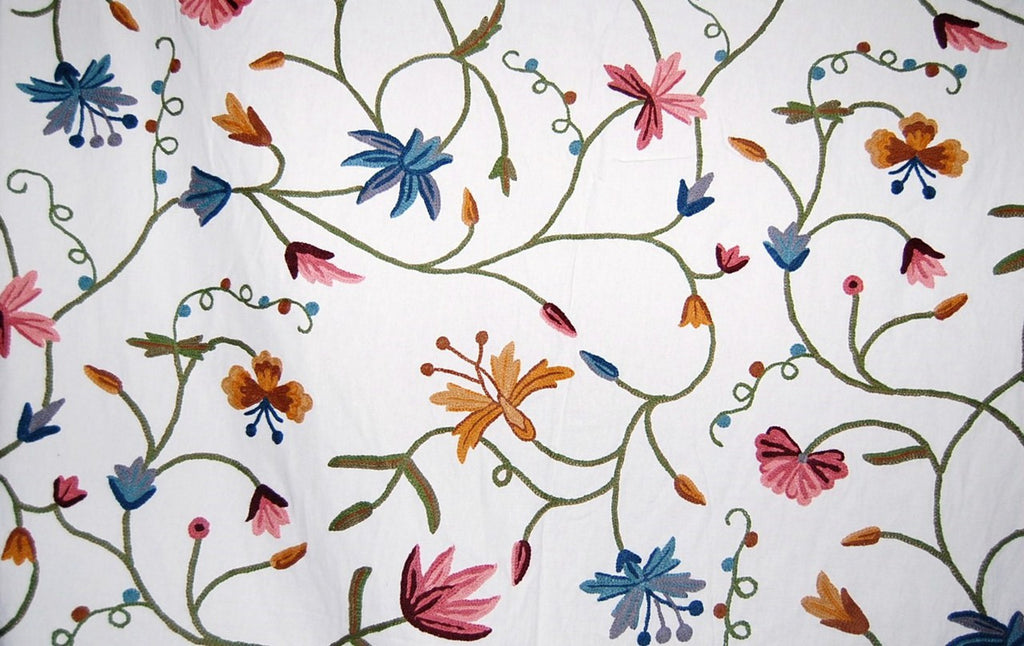 Cotton Crewel Embroidered Fabric Butterfly Snow White, Multicolor #BFL402