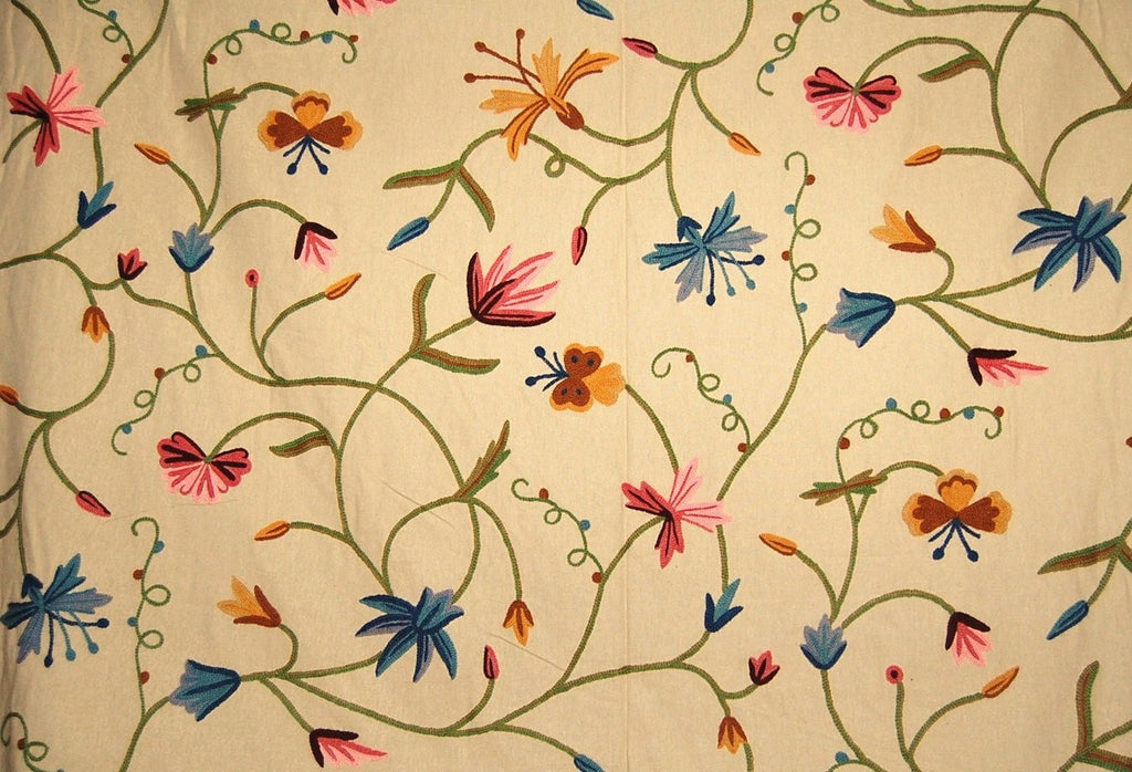 Cotton Crewel Embroidered Fabric Butterfly Beige, Multicolor #BFL501