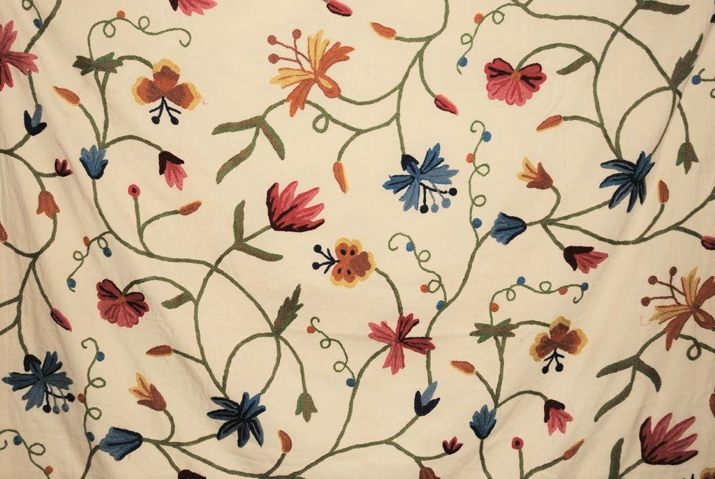 Cotton Crewel Embroidered Fabric Butterfly Cream, Multicolor #BFL502