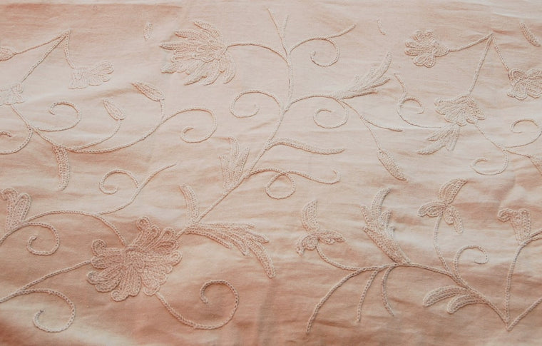 Cotton Crewel Embroidered Fabric Jacobean, Cream on Cream #TML522