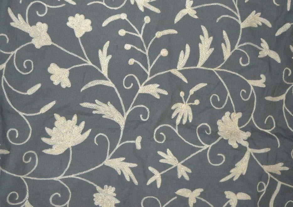 Cotton Crewel Embroidered Fabric Jacobean, White on Grey #TML402