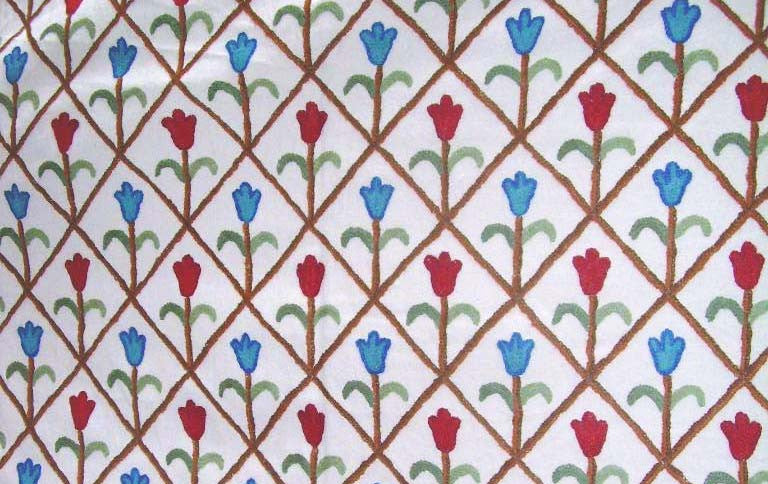 Cotton Crewel Embroidered Fabric Tulips, Multicolor #LTS001