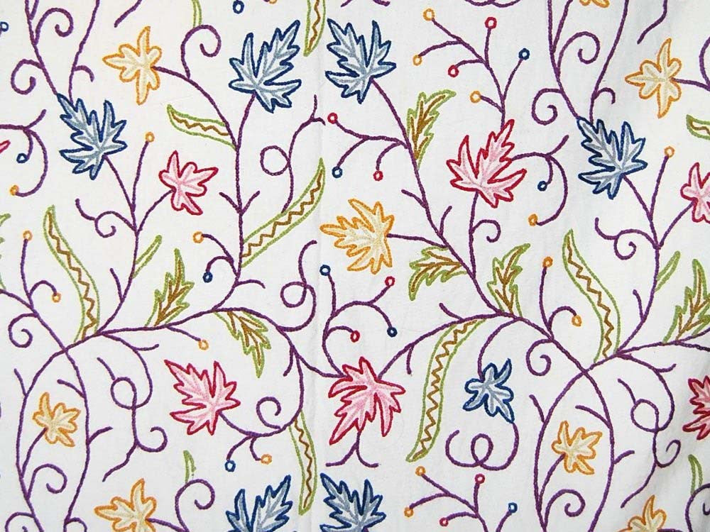 Cotton Crewel Embroidered Fabric Maple, Multicolor #SNL002