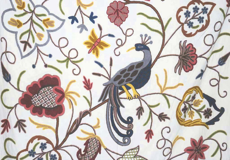 "Cotton Crewel Embroidered Fabric ""Peacock"", Multicolor #BRD802"