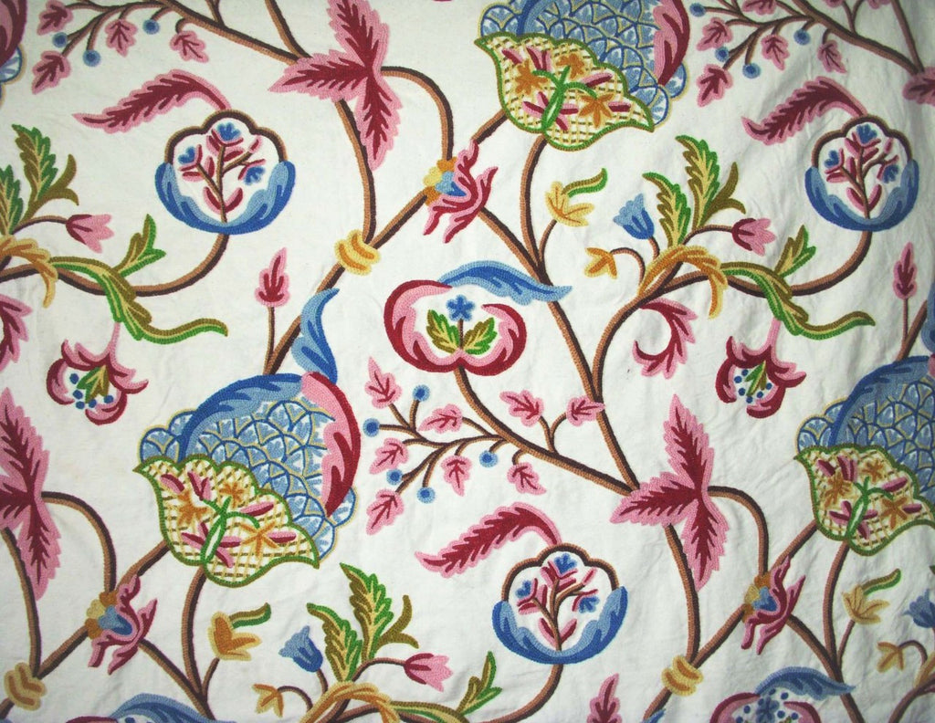 Cotton Crewel Embroidered Fabric, Pink and Blue #FLR205