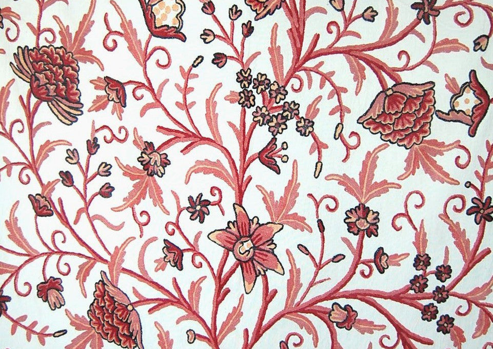 "Cotton Crewel Embroidered Fabric ""Tree of Life"", Pink on White #DDR002"