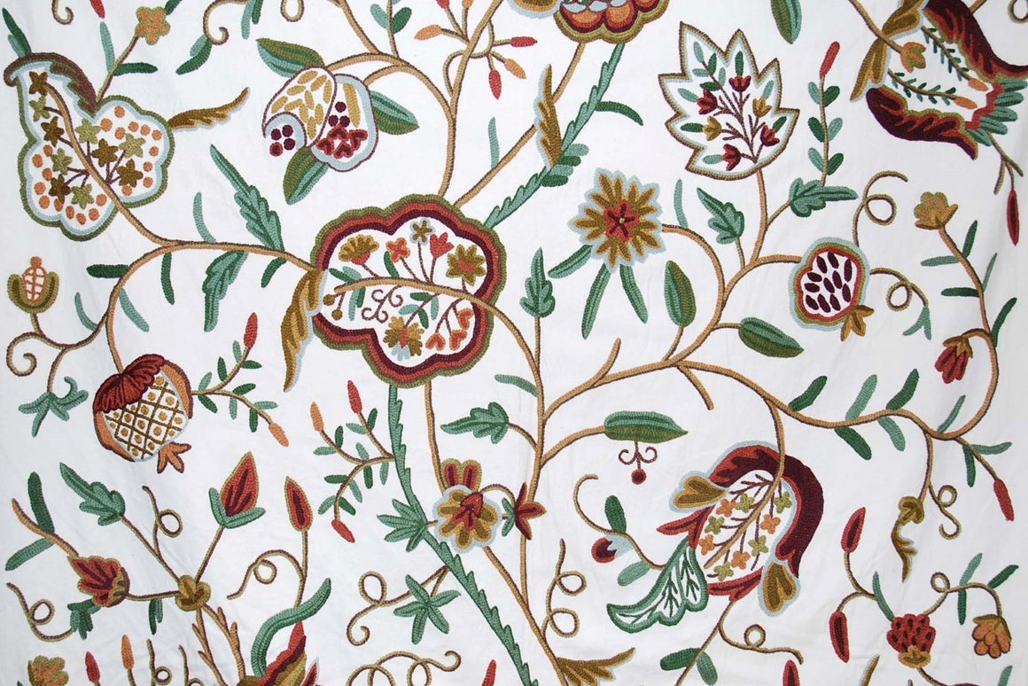 "Cotton Crewel Embroidered Fabric ""Watlab"", Multicolor #FLR228"
