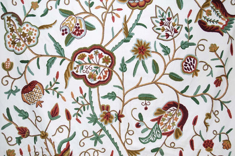 "Cotton Crewel Embroidered Fabric ""Watlab"" Off-White, Multicolor #FLR228"