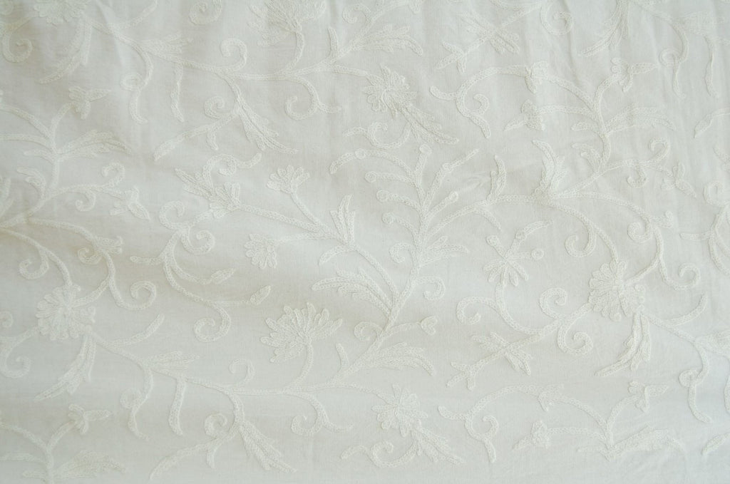 Cotton Crewel Embroidered Fabric Jacobean, White on White #TML502
