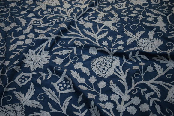 "Cotton Crewel Embroidered Fabric ""Tree of Life"", Grey on Navy #DDR055"