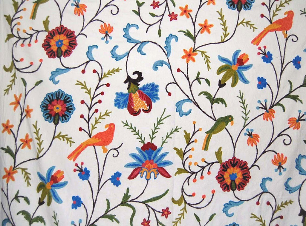 Cotton Crewel Embroidered Fabric Parrots, Multicolor #BRD002