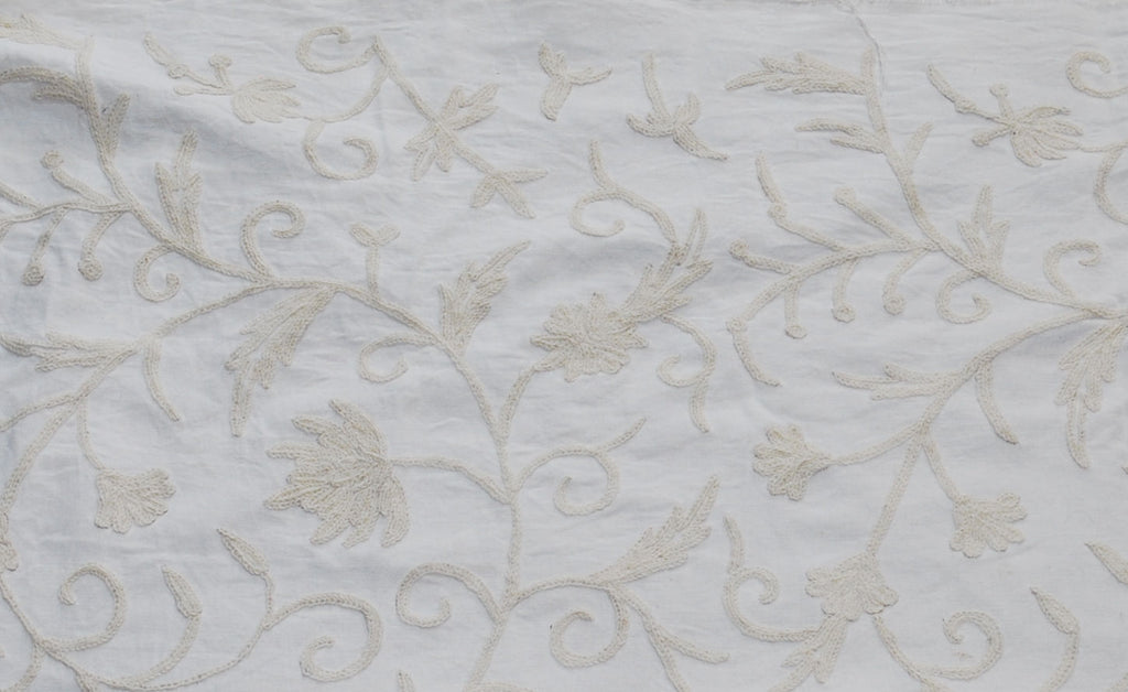 Cotton Crewel Embroidered Fabric Jacobean, White on White #TML532