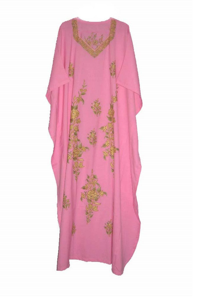 Cotton Embroidered Kaftan Caftan Pink, Multicolor Embroidery #CKF-001