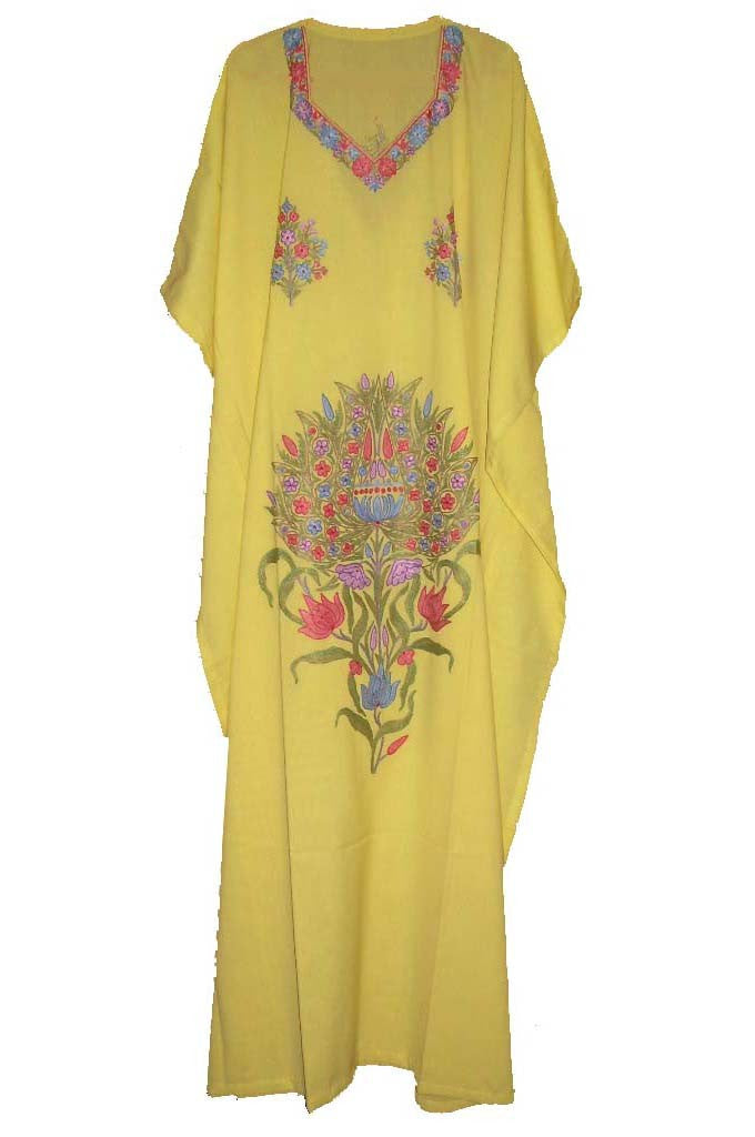 Cotton Embroidered Kaftan Caftan Yellow, Multicolor Embroidery #CKF-002