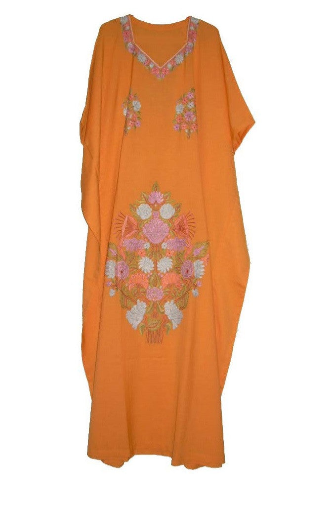 Embroidered Kaftan Cotton Caftan Mustard, Multicolor Embroidery #CKF-003