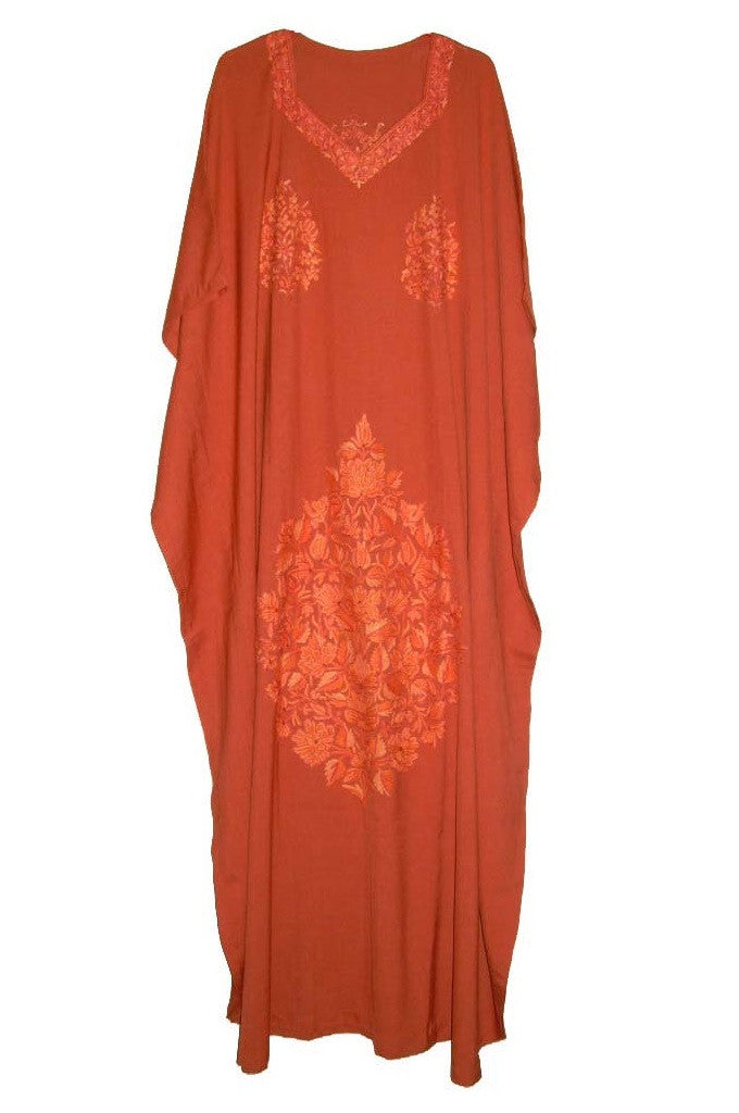 Embroidered Kaftan Cotton Caftan Rust, Tone-Tone Embroidery #CKF-004