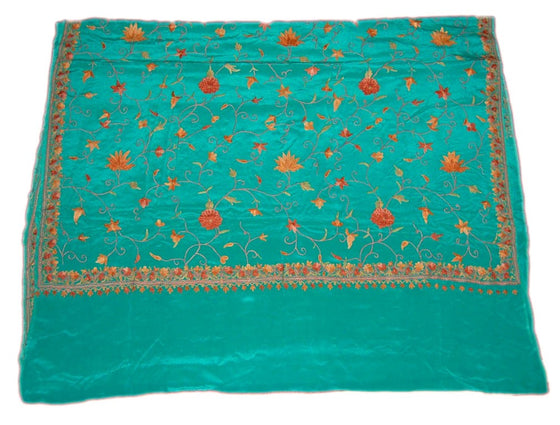 Kashmir Silk Sari Saree Green, Multicolor Embroidery #SA-103