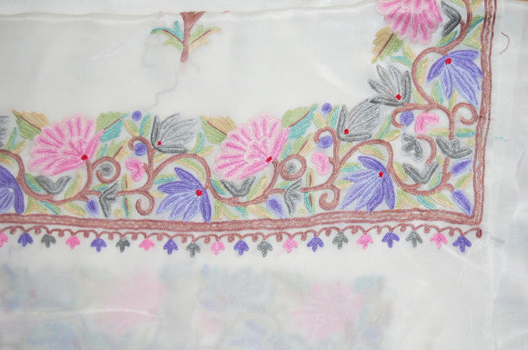 Kashmir Silk Sari Saree White, Multicolor Embroidery #SA-105