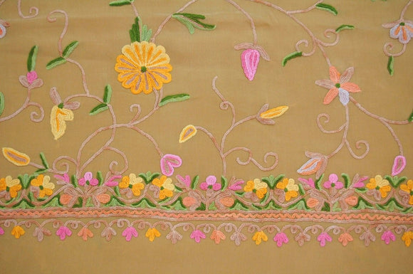 Kashmir Silk Sari Saree Apricot, Multicolor Embroidery #SA-107
