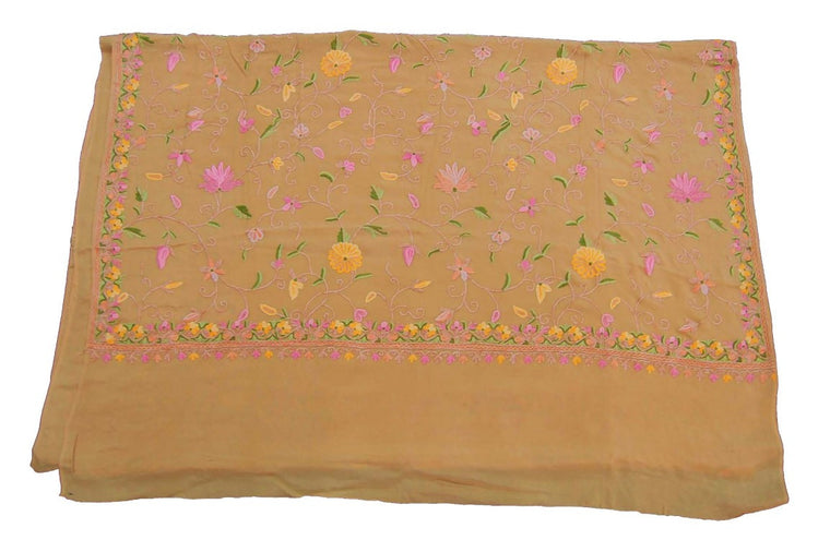 Kashmir Silk Sari Saree Beige, Multicolor Embroidery #SA-107