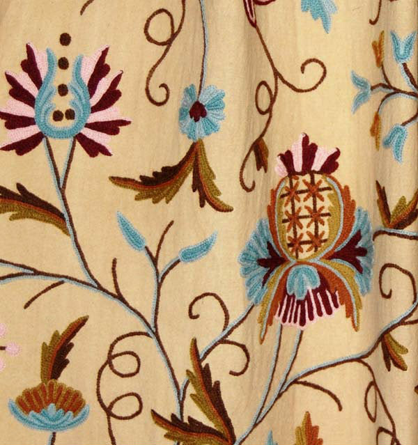 Custom Made Crewel Embroidered Fabric #3327