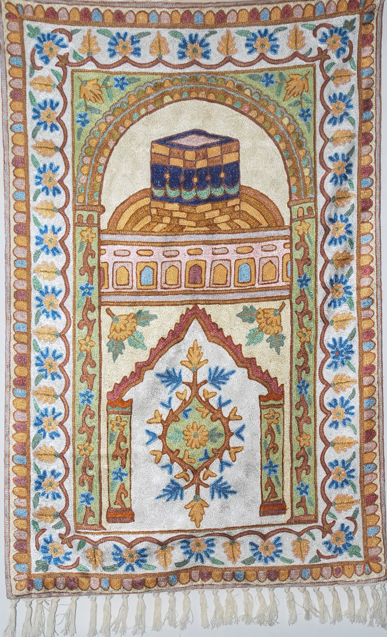 ChainStitch Tapestry Silk Prayer Rug, Multicolor Embroidery 2.4x3.5 feet #CWR81602