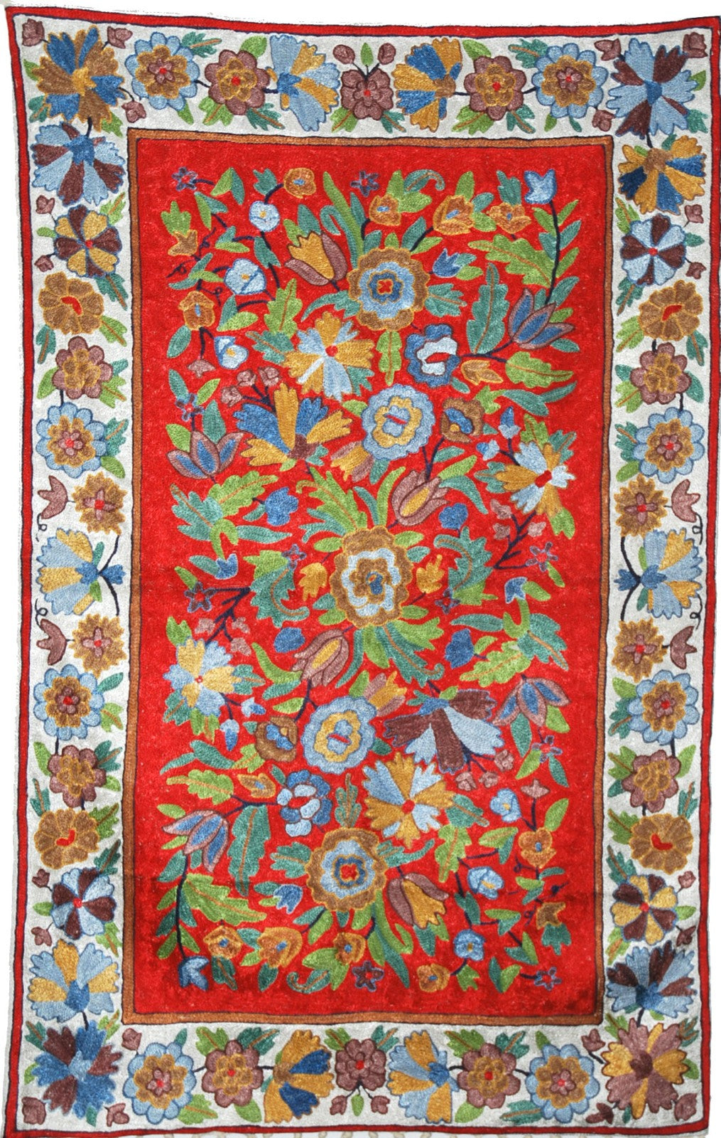 ChainStitch Tapestry Silk Rug, Multicolor Embroidery 2.5x4 feet #CWR10104