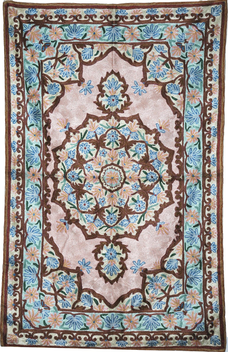 ChainStitch Tapestry Silk Rug, Pink and Blue Embroidery 2.5x4 feet #CWR10107
