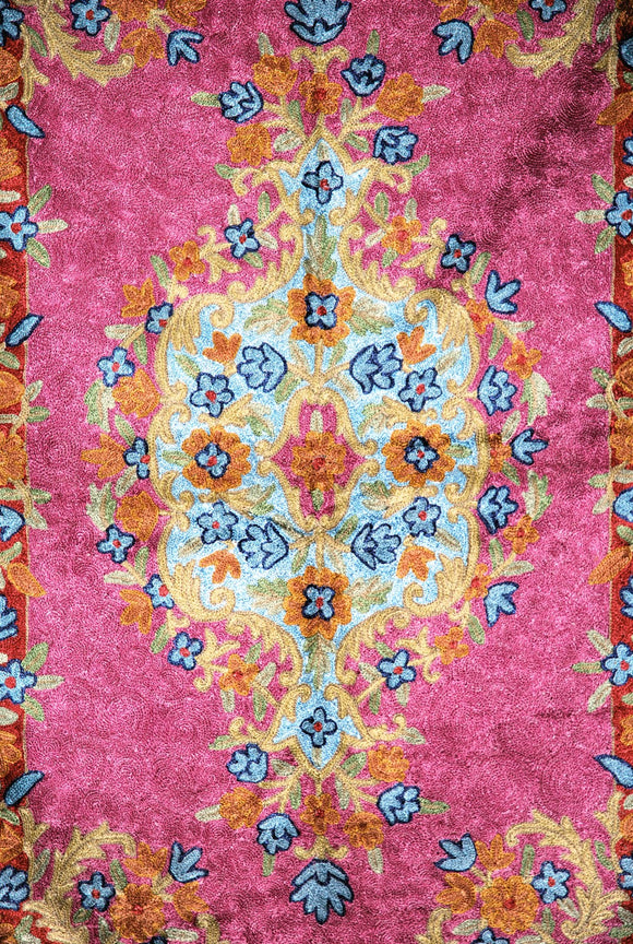 ChainStitch Tapestry Silk Rug, Multicolor Embroidery 2.5x4 feet #CWR10108