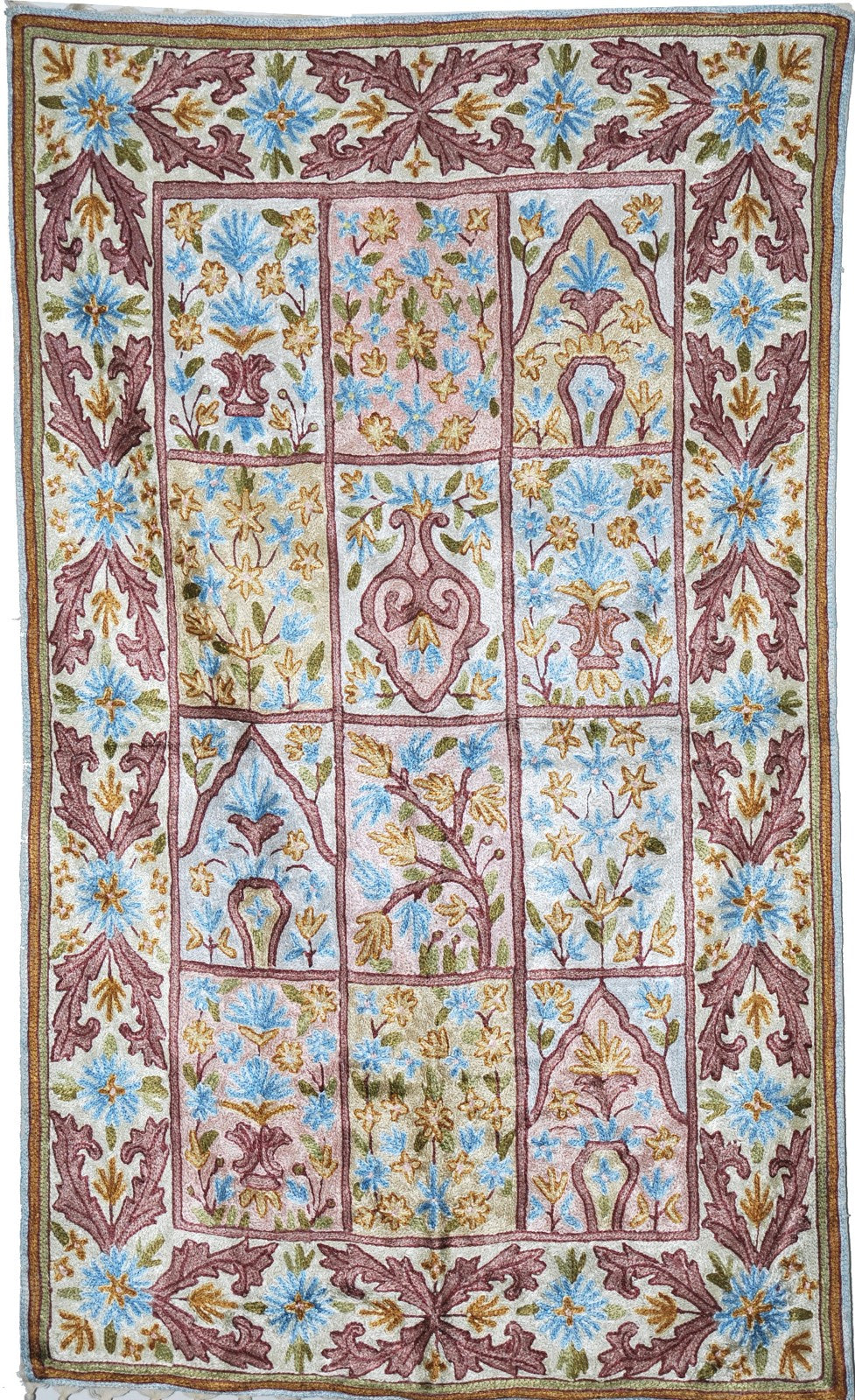 ChainStitch Tapestry Silk Rug, Multicolor Embroidery 2.5x4 feet #CWR10109
