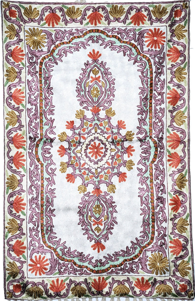 ChainStitch Tapestry Silk Rug, Multicolor Embroidery 2.5x4 feet #CWR10110