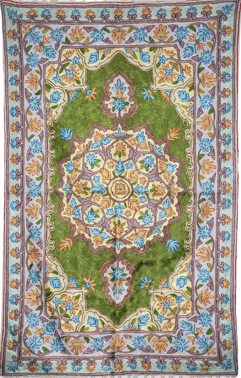 ChainStitch Tapestry Silk Rug, Blue Green Embroidery 2.5x4 feet #CWR10111