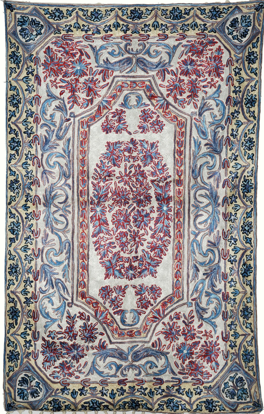 ChainStitch Tapestry Silk Rug, Multicolor Embroidery 2.5x4 feet #CWR10112
