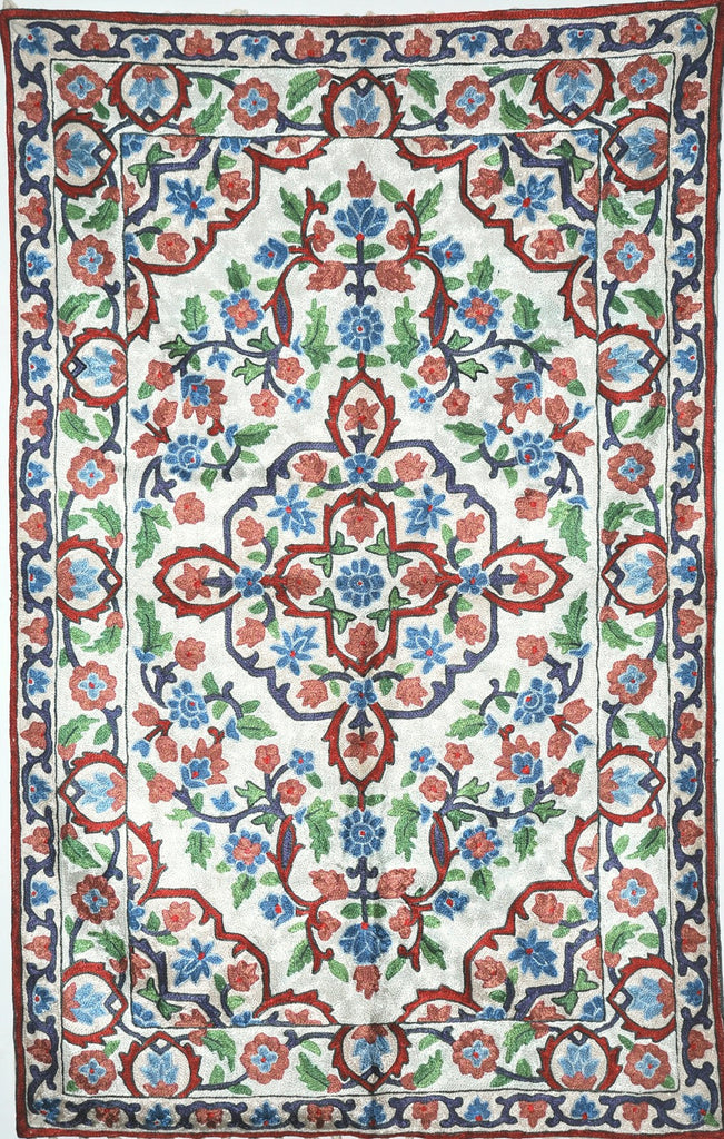 ChainStitch Tapestry Silk Rug, Multicolor Embroidery 2.5x4 feet #CWR10113