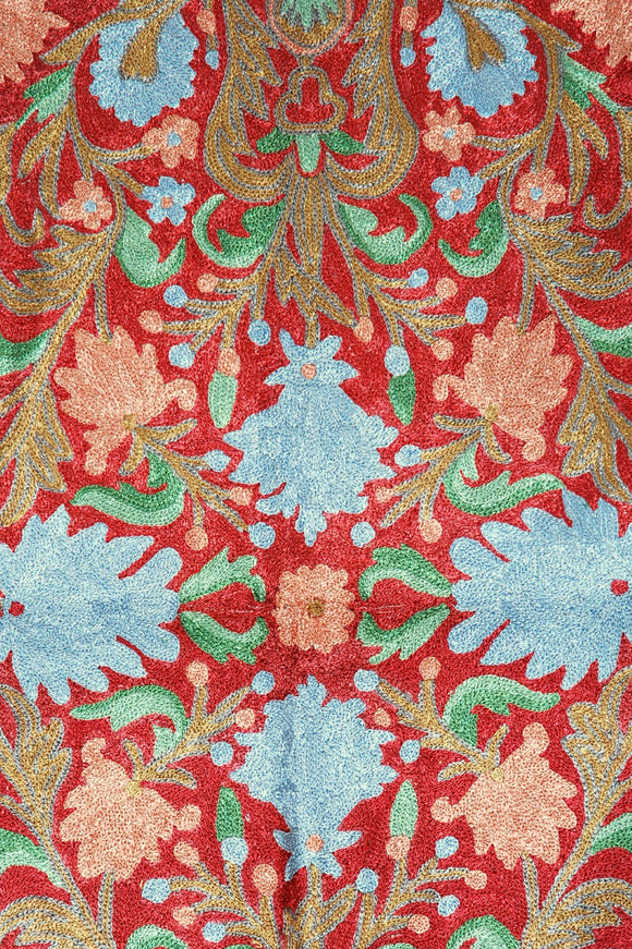 ChainStitch Tapestry Silk Rug, Multicolor Embroidery 2x3 feet #CWR6201