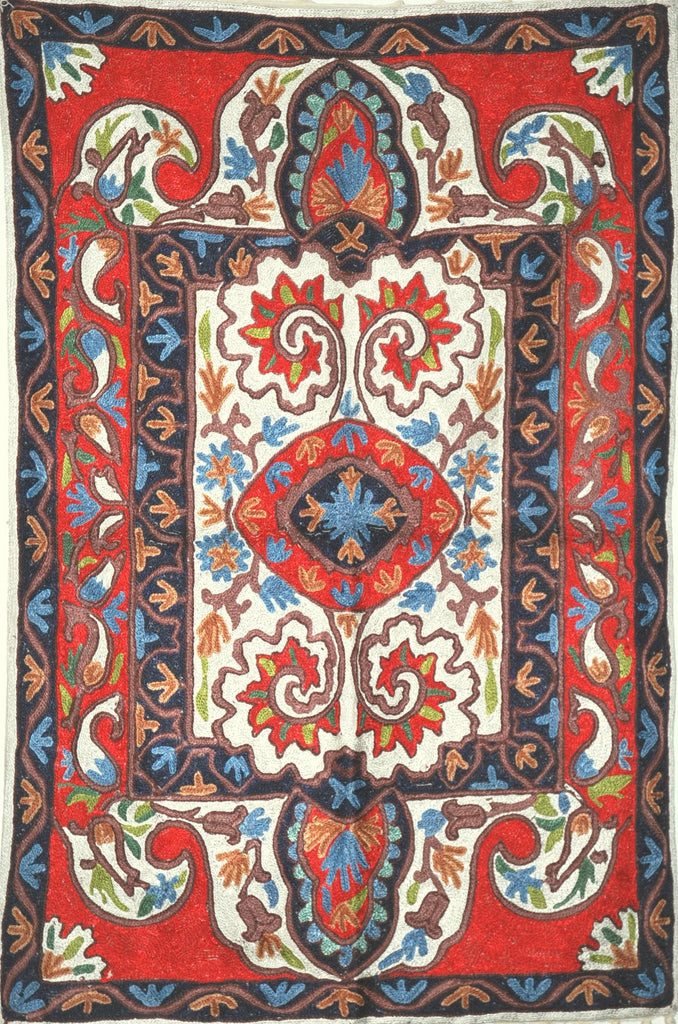 ChainStitch Tapestry Silk Rug, Multicolor Embroidery 2x3 feet #CWR6202