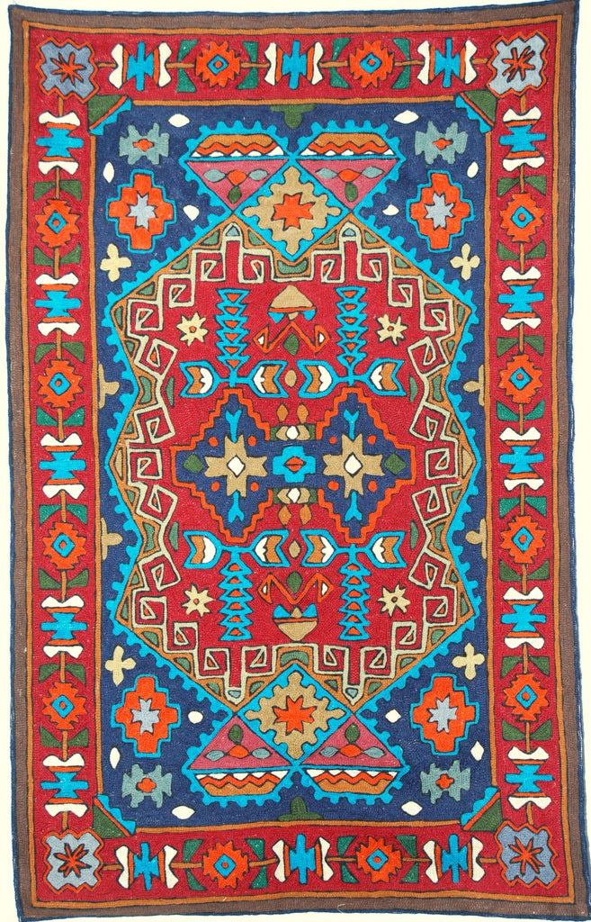 ChainStitch Tapestry Woolen Rug Kilim, Multicolor Embroidery 2.5x4 feet #CWR10015