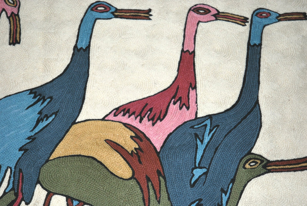 ChainStitch Tapestry Woolen Rug Birds, Multicolor Embroidery 2x3 feet #CWR6102