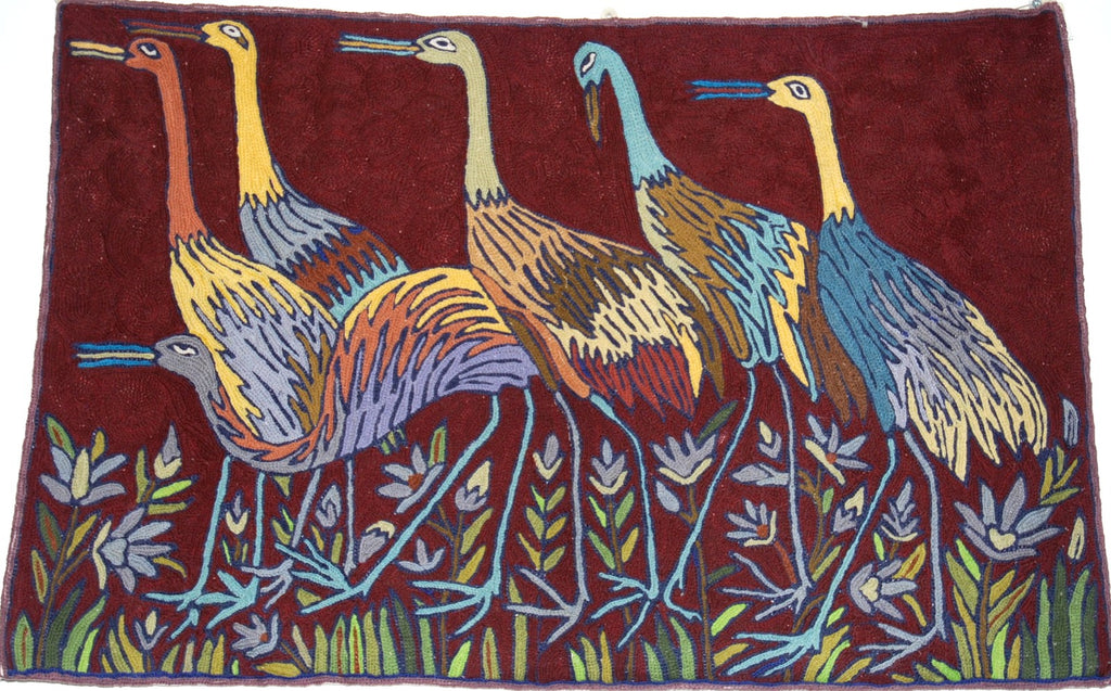 ChainStitch Tapestry Woolen Rug Birds, Multicolor Embroidery 2x3 feet #CWR6103