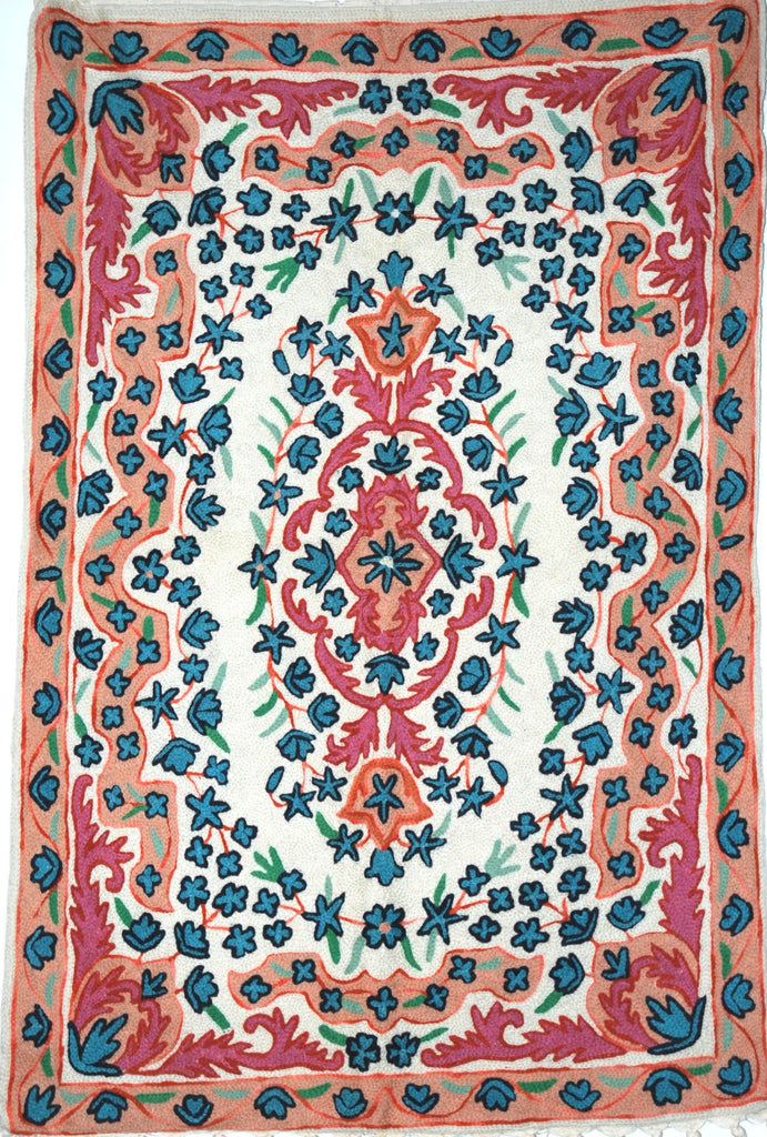 ChainStitch Tapestry Woolen Rug, Pink and Blue Embroidery 2x3 feet #CWR6104