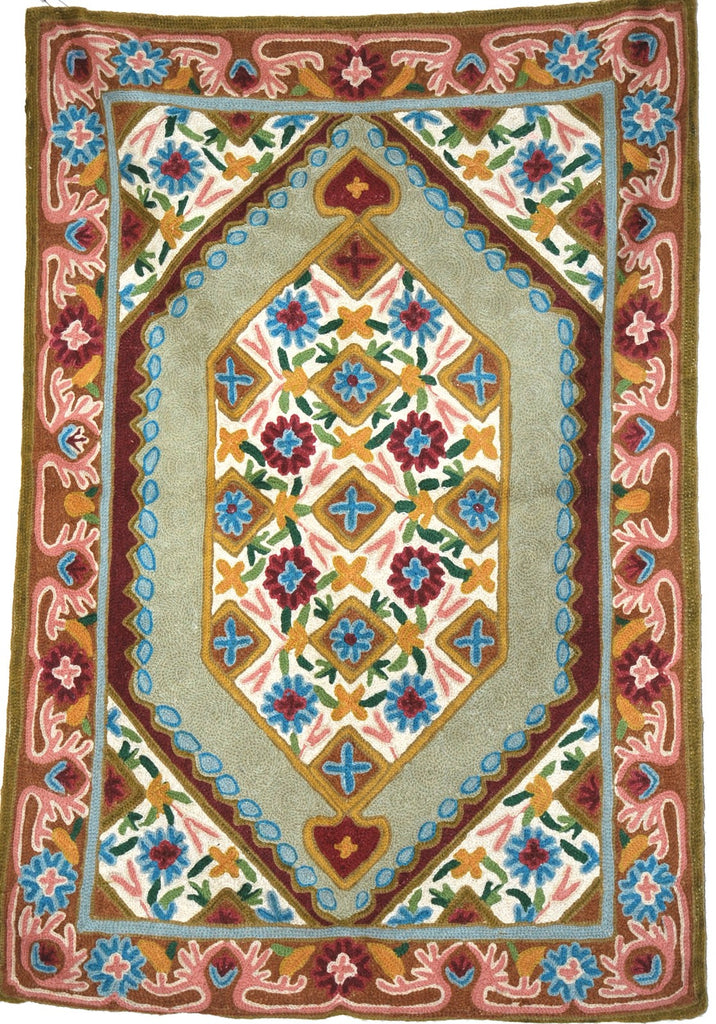 ChainStitch Tapestry Woolen Rug, Multicolor Embroidery 2x3 feet #CWR6105