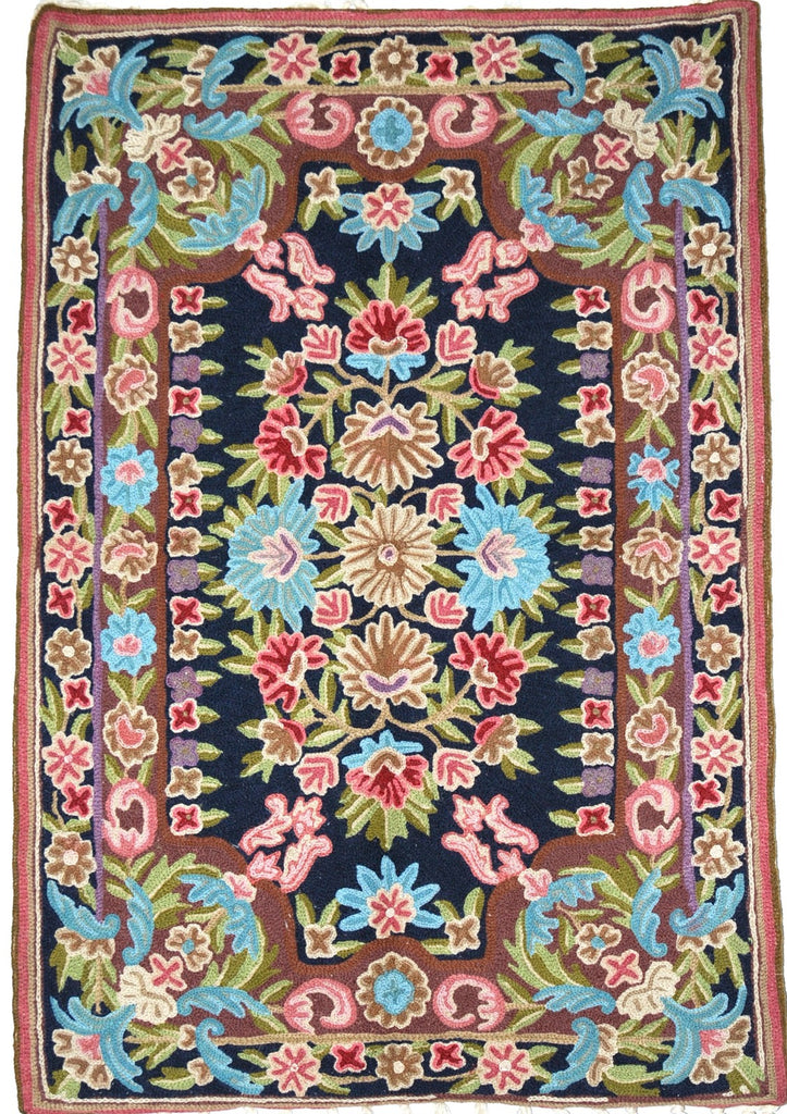 ChainStitch Tapestry Woolen Rug, Multicolor Embroidery 2x3 feet #CWR6106