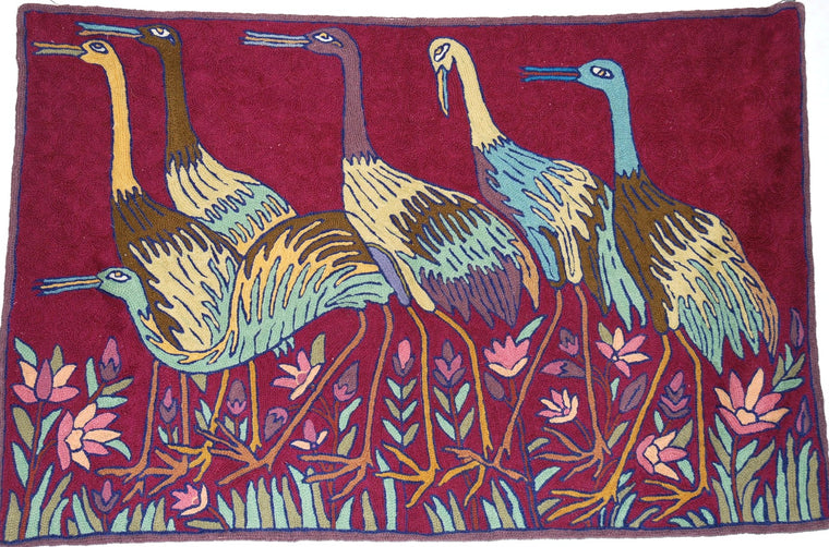 Crewel Handmade Woolen Rug Birds, Multicolor Embroidery 2x3 feet #CWR6111