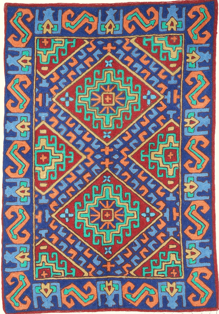 ChainStitch Tapestry Woolen Rug Kilim, Multicolor Embroidery 2x3 feet #CWR6112